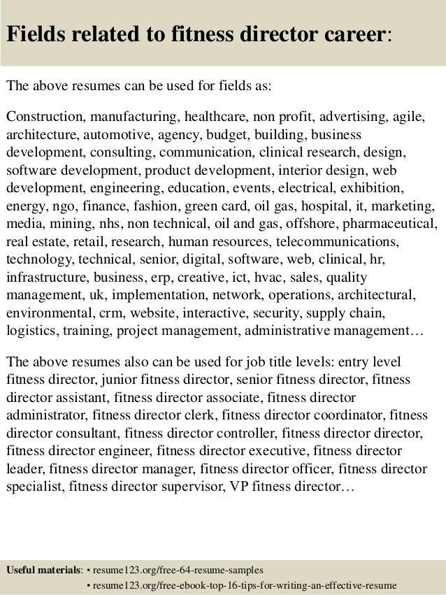 Fitness Director Resume Sample  Director Resume