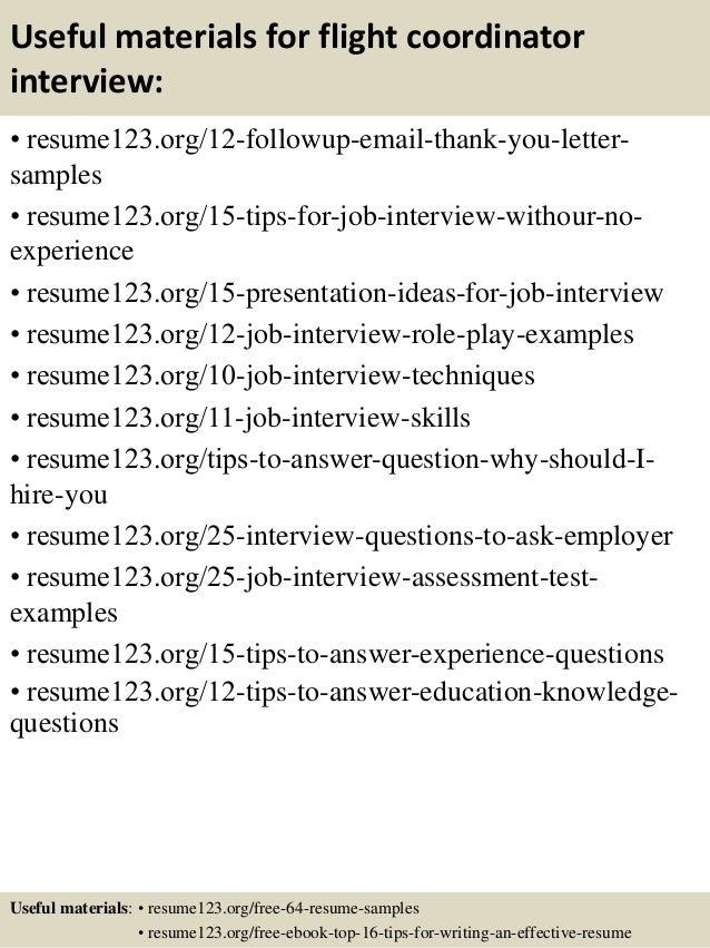 top 8 flight coordinator resume samples