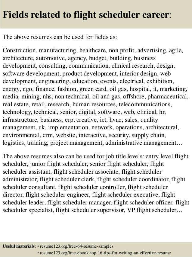 top 8 flight scheduler resume samples