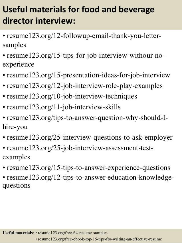 food and beverage resume samples