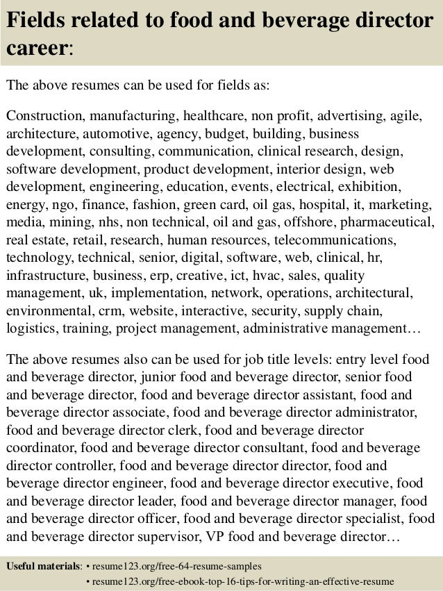 top 8 food and beverage director resume sles