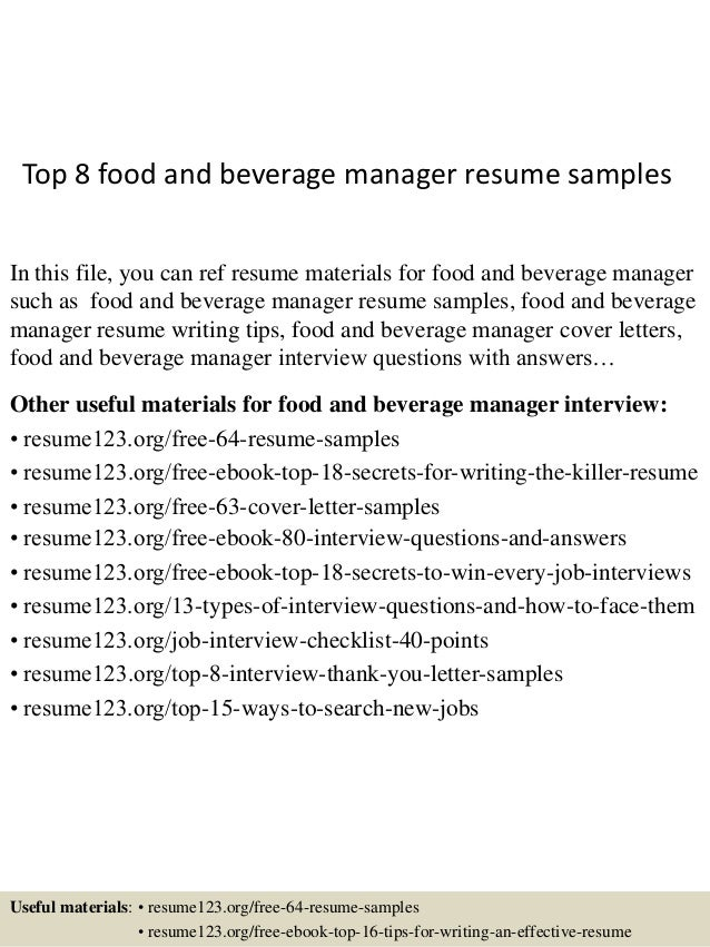 Top 8 food and beverage manager resume samples