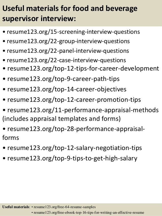 Top 8 food and beverage supervisor resume samples