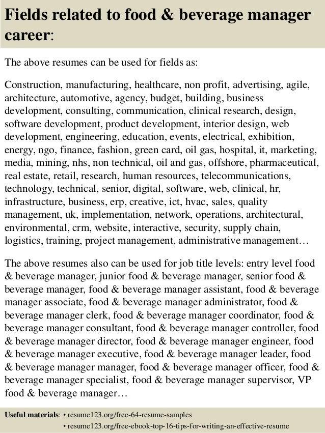 Top 8 food & beverage manager resume samples
