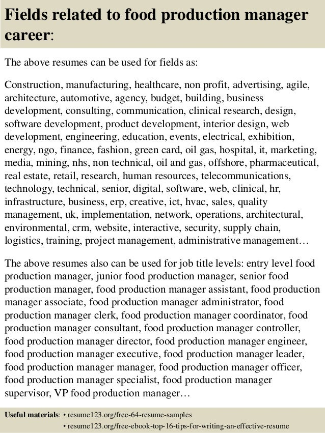 16 Fields Related To Food Production Manager