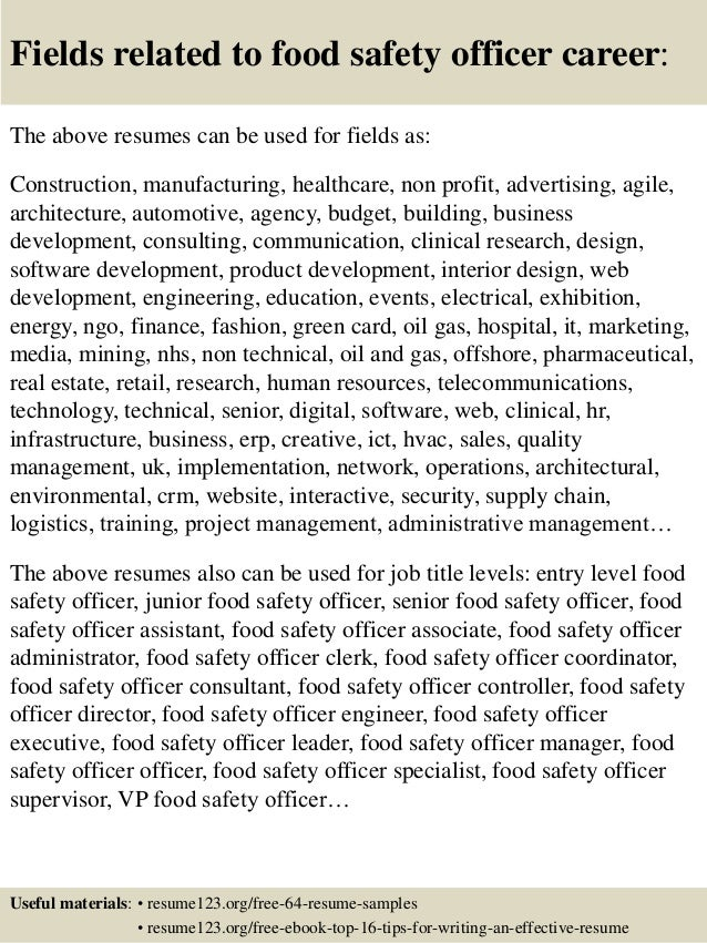 16 fields related to food - Food Process Engineer Sample Resume