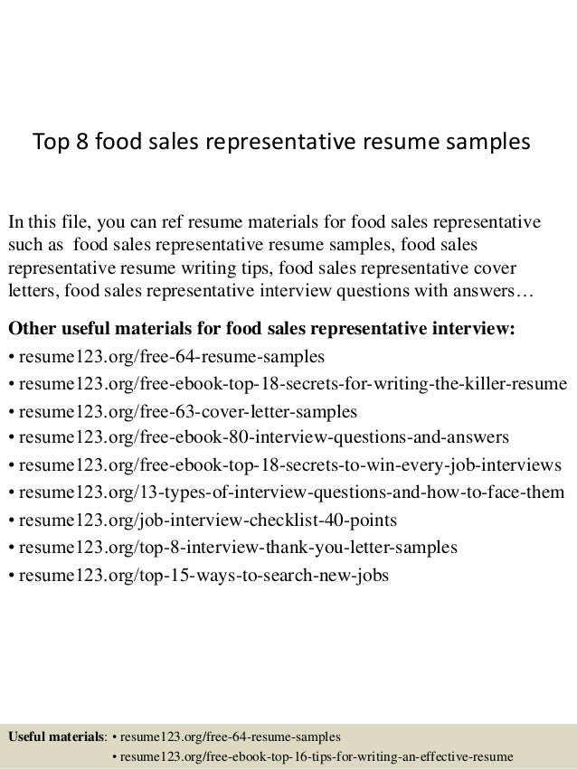 Top 8 Food Sales Representative Resume Samples In This File, You Can Ref  Resume Materials ...  Salesman Resume Examples