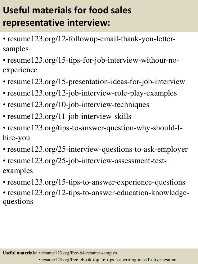 top 8 food sales representative resume samples