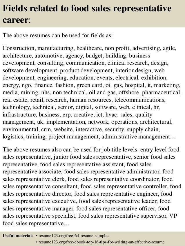 sales representative sample resumes