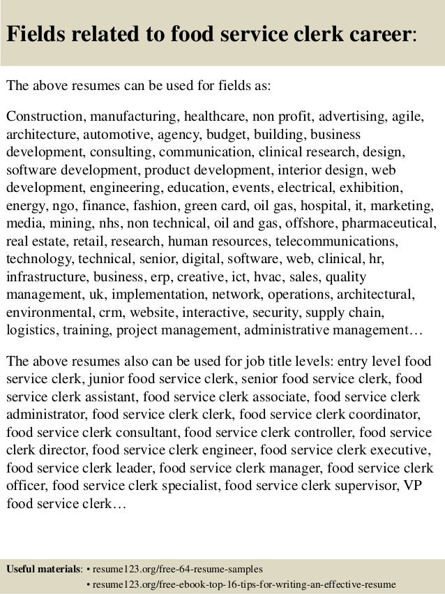 16 fields related to food service - Food Service Resume Sample
