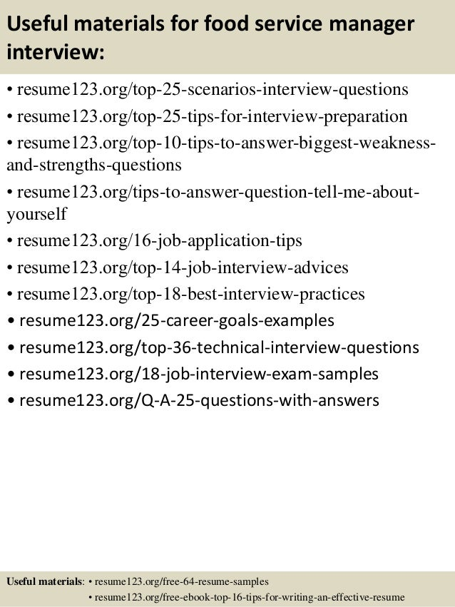 ... 13. Useful Materials For Food Service Manager ...  Food Service Manager Resume