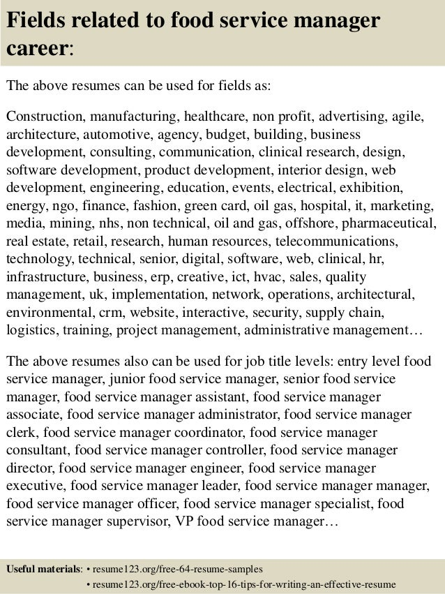 ... 16. Fields Related To Food Service ...  Food Service Resumes