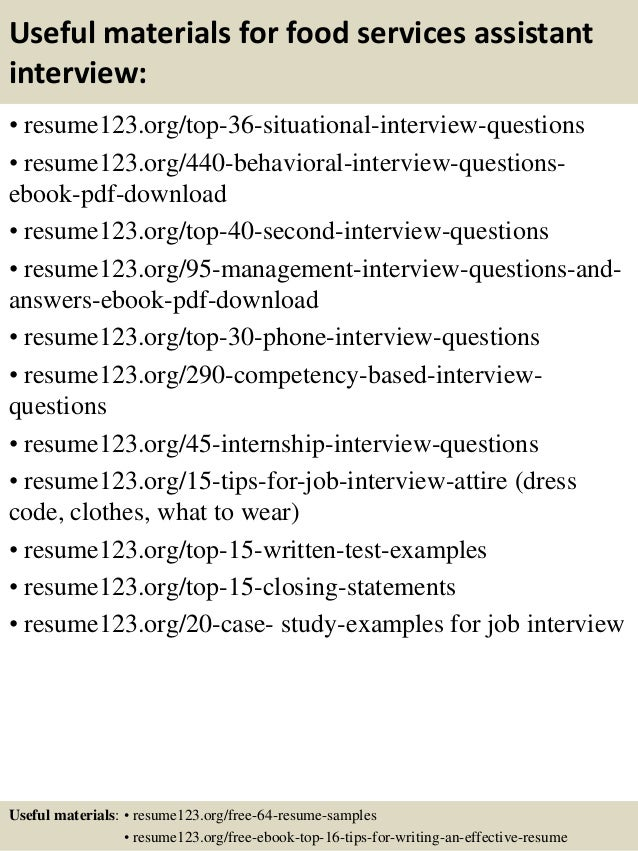 resume samples for food service