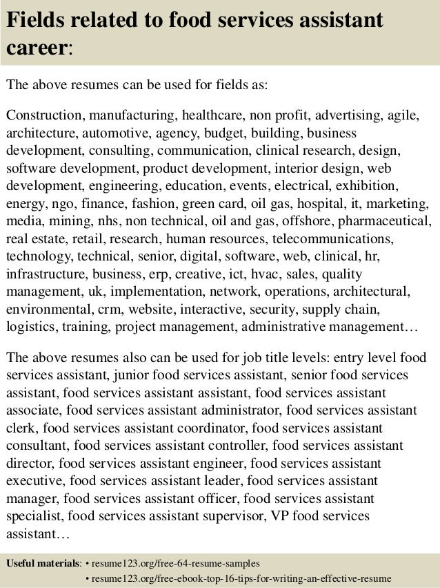 Top  Food Services Assistant Resume Samples