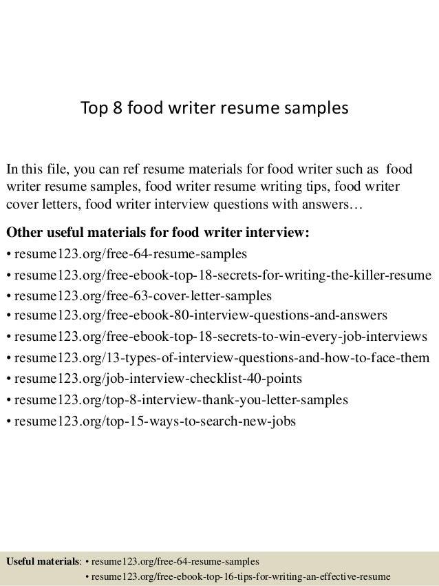 Top 8 Food Writer Resume Samples