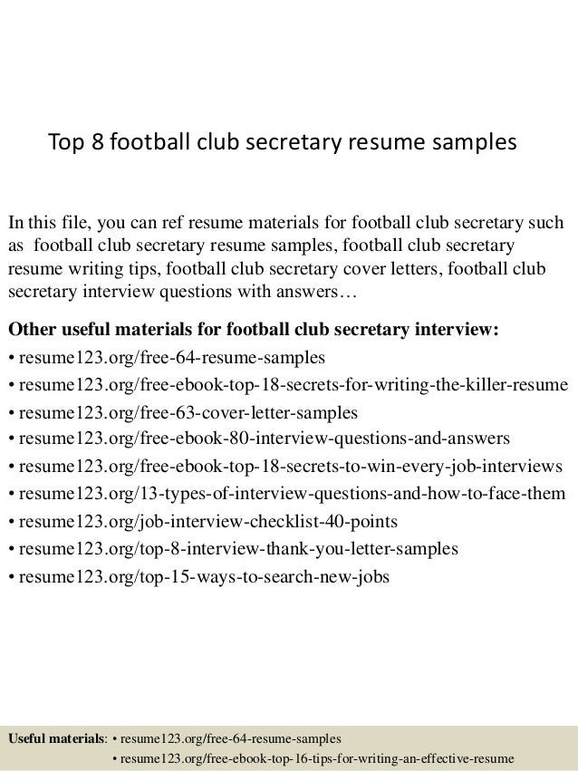 Top 8 Football Club Secretary Resume Samples In This File, You Can Ref  Resume Materials ...  Sample Secretary Resume