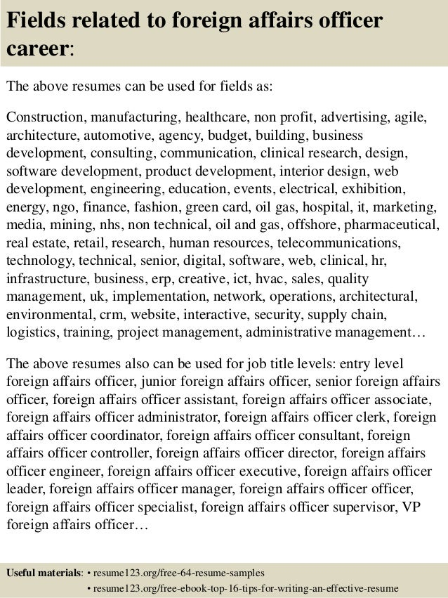 top 8 foreign affairs officer resume sles