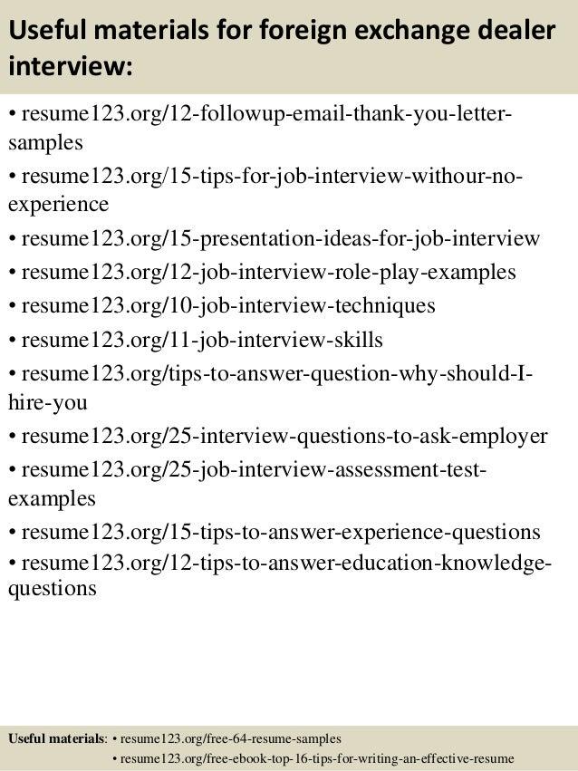 Top 8 foreign exchange dealer resume samples