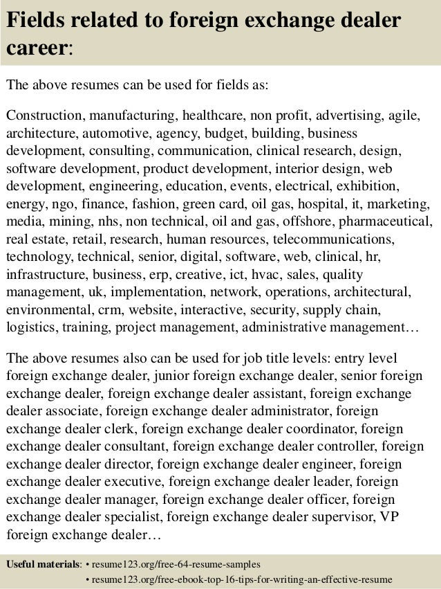 top 8 foreign exchange dealer resume samples