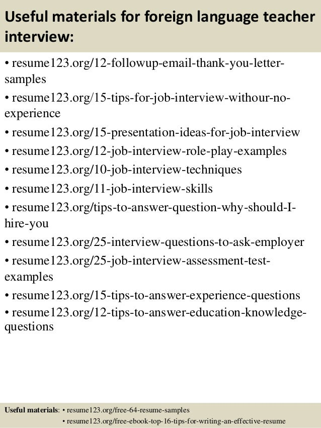 sample foreign language and literature teacher resume template - Teaching Resume Templates