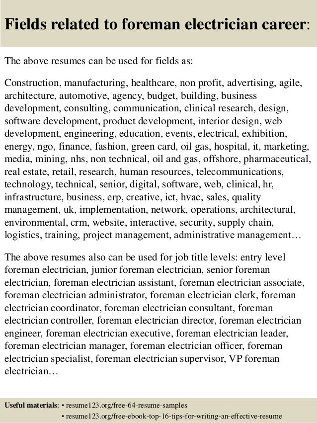 Top 8 foreman electrician resume samples