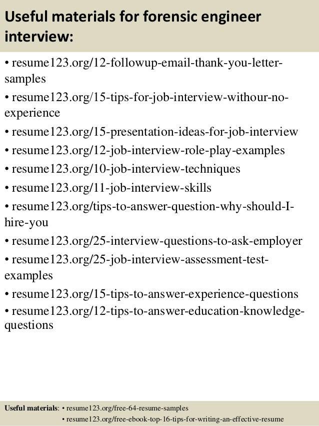 14 useful materials for forensic engineer - Forensic Mechanical Engineer Sample Resume