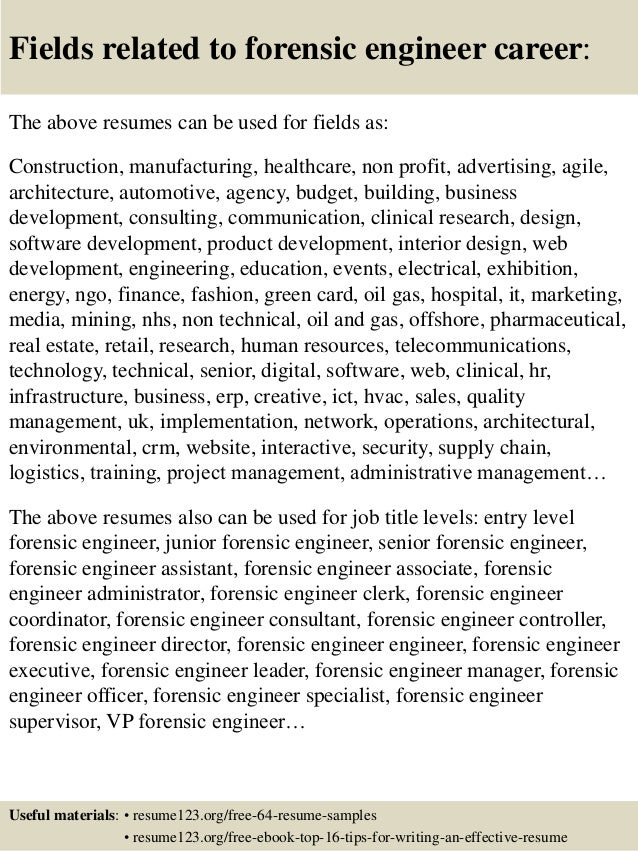 16 fields related to forensic engineer - Forensic Engineer Sample Resume