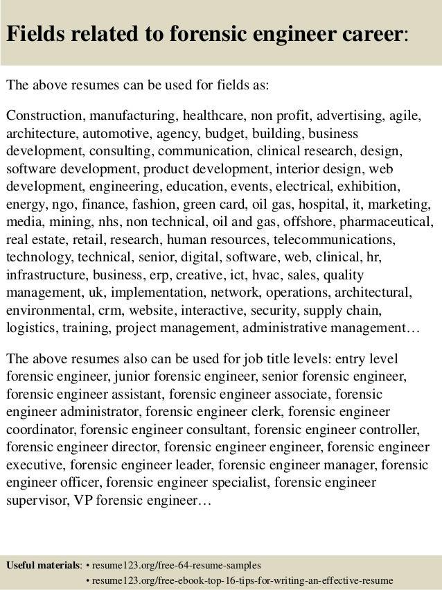 16 fields related to forensic engineer - Forensic Mechanical Engineer Sample Resume