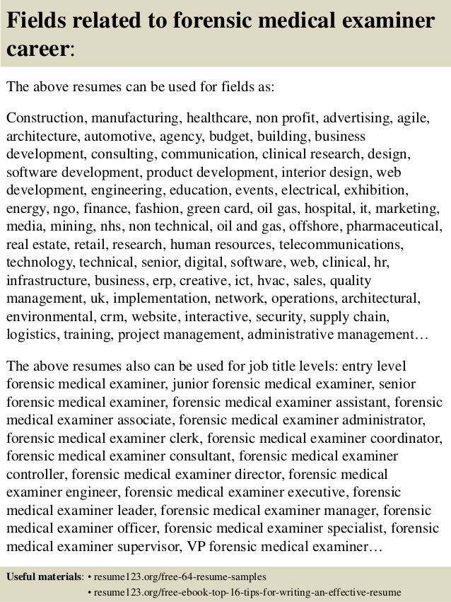 Top  Forensic Medical Examiner Resume Samples