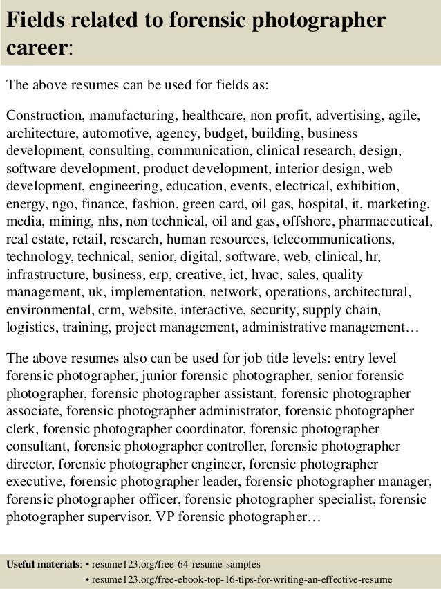 top 8 forensic photographer resume samples