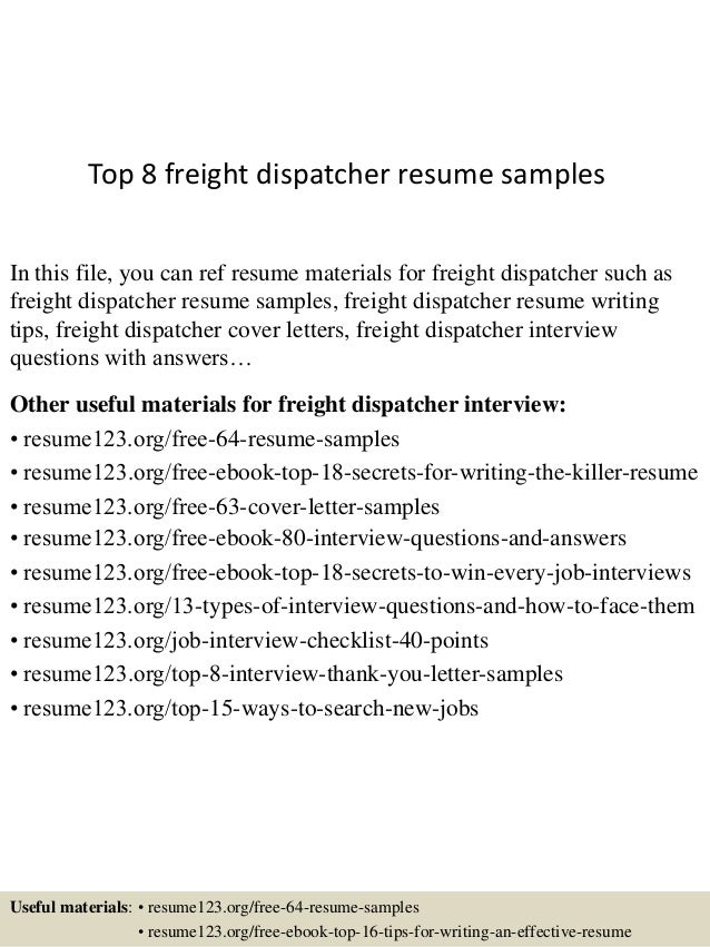 top 8 freight dispatcher resume samples 1 638 jpg cb 1437637930