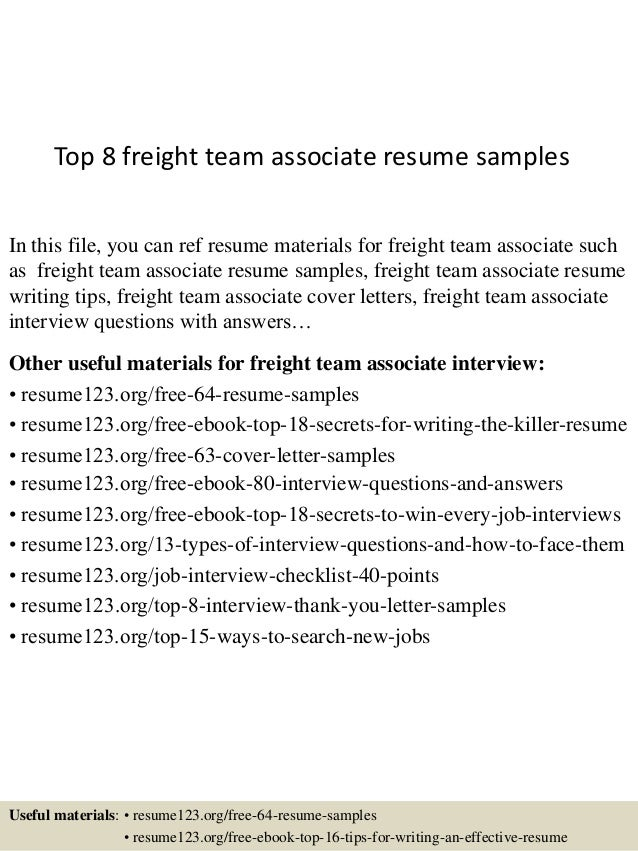 Sample Freight Team Associate Resume