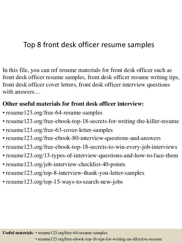 sample front desk resume