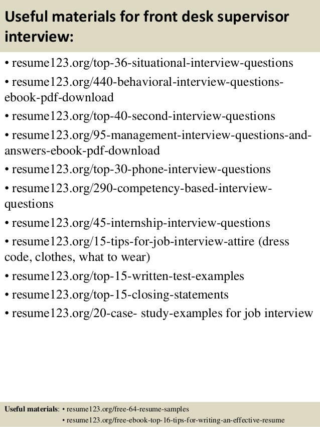 ... 12. Useful Materials For Front Desk Supervisor ...  Front Desk Supervisor Resume