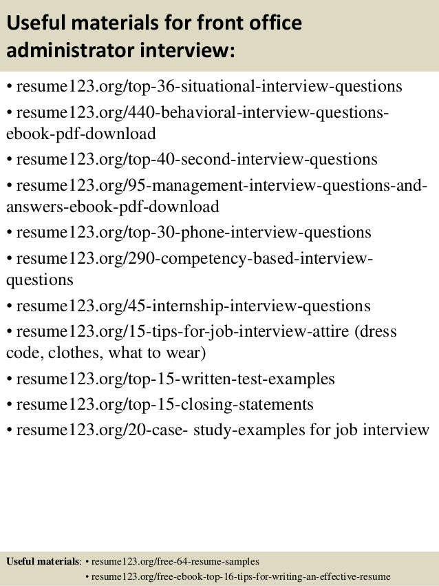 12 useful materials for front office administrator - Front Office Administrator Sample Resume