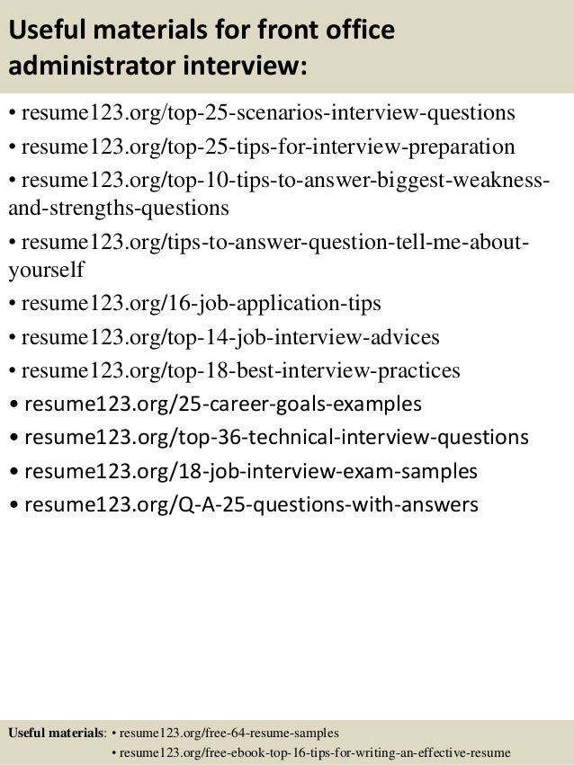 13 useful materials for front office administrator - Office Administrator Resume Sample