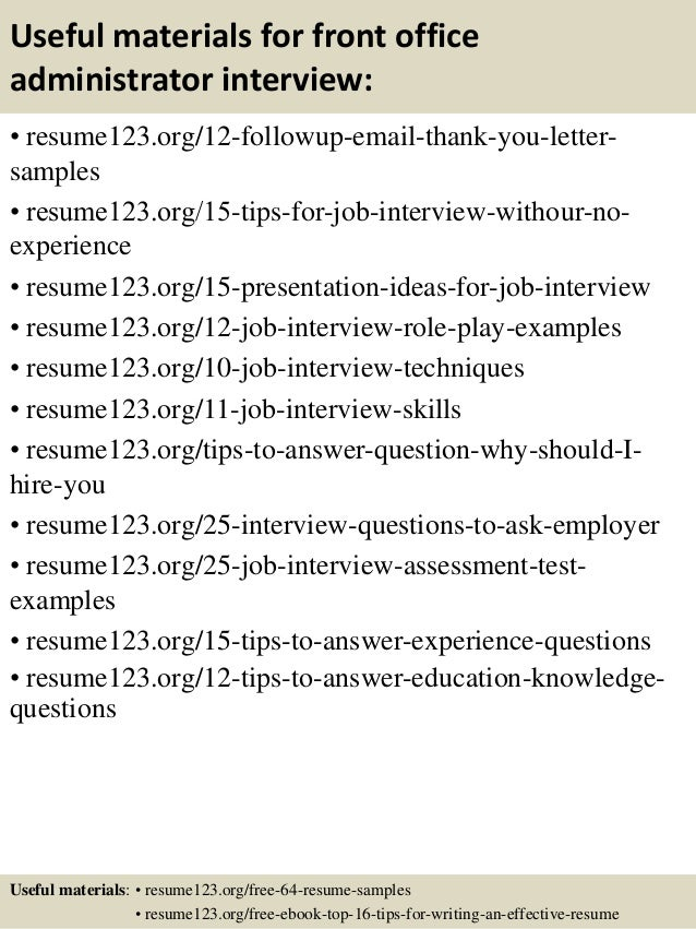 14 useful materials for front office administrator - Office Administrator Resume Sample