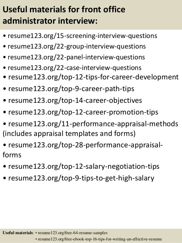 15 useful materials for front office administrator - Front Office Administrator Sample Resume