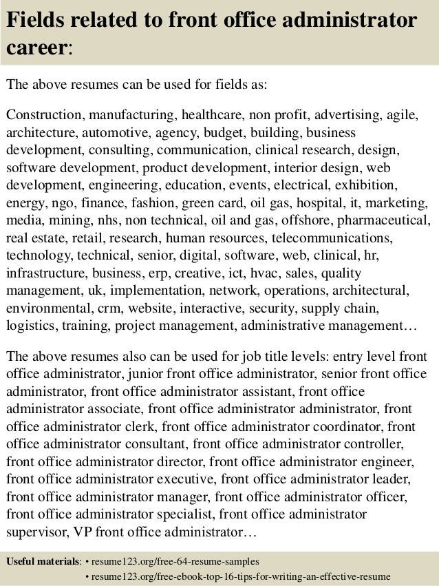 16 fields related to front office administrator - Sample Office Manager Resume