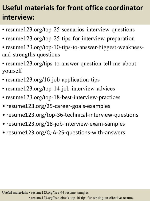Top 8 front office coordinator resume samples – Office Coordinator Resume Sample