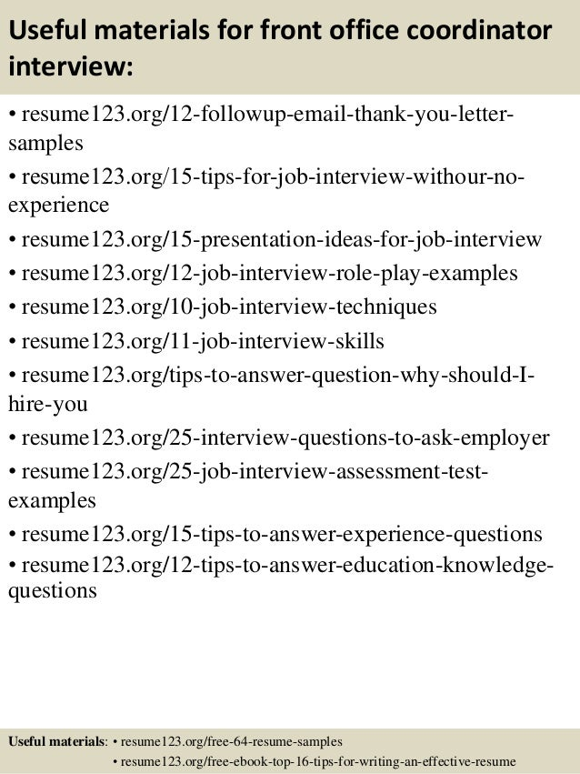 ... 14. Useful Materials For Front Office Coordinator ...  Office Coordinator Resume Sample