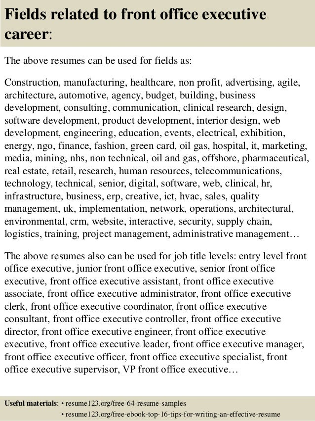 top 8 front office executive resume sles