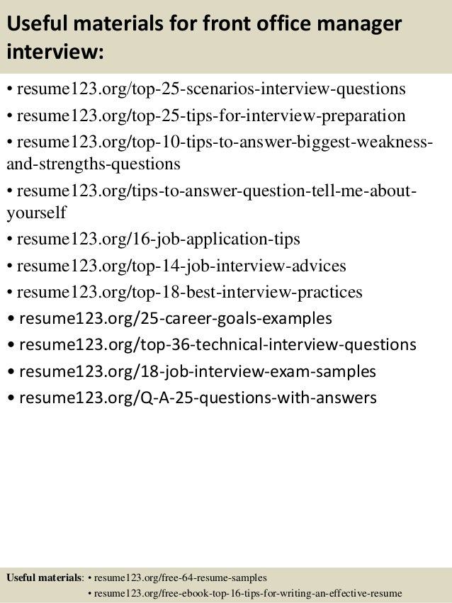 top 8 front office manager resume samples