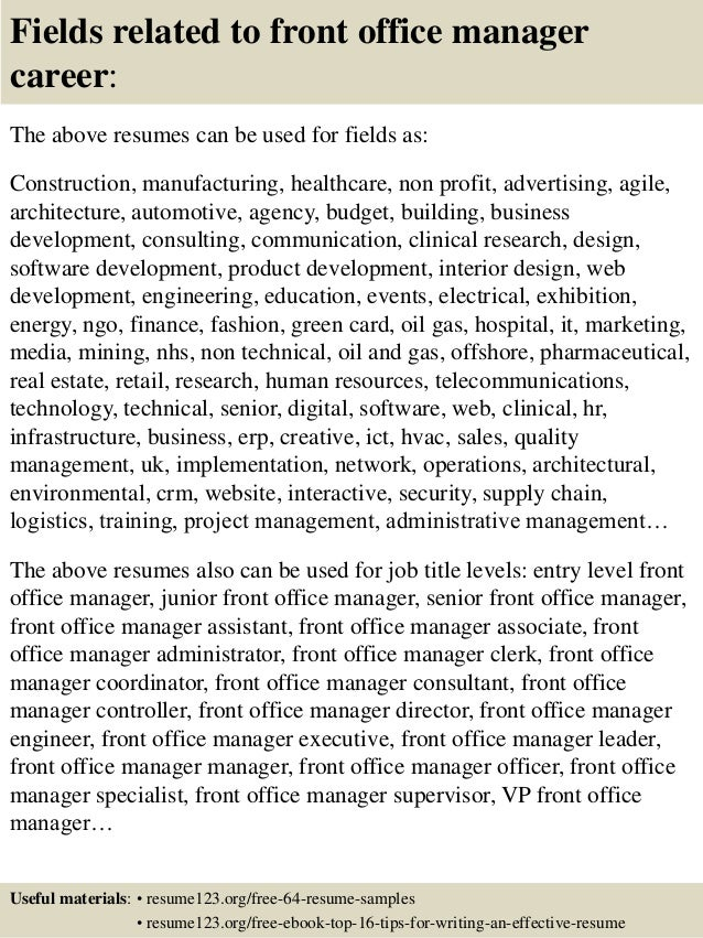 16 fields related to front office manager - Office Manager Resume Example