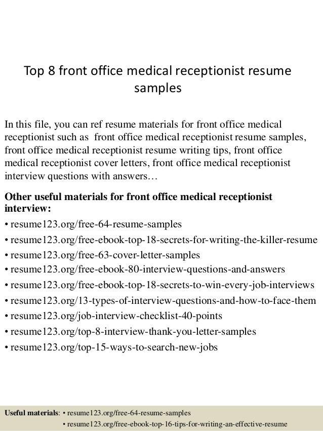 top8frontofficemedicalreceptionistresume samples1638jpgcb1438223302
