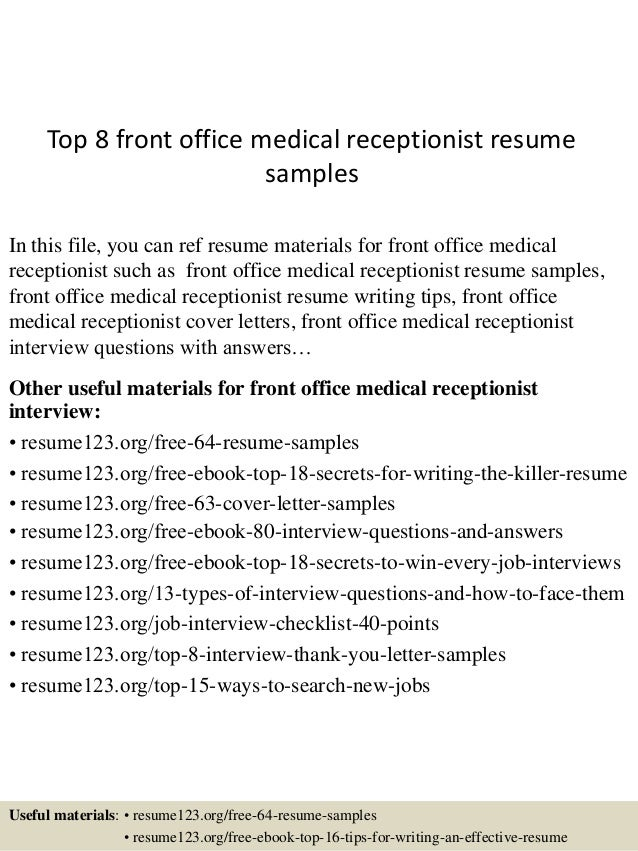 Resume Examples For Medical Receptionist | Top 8 Front Office Medical Receptionist Resume Samples