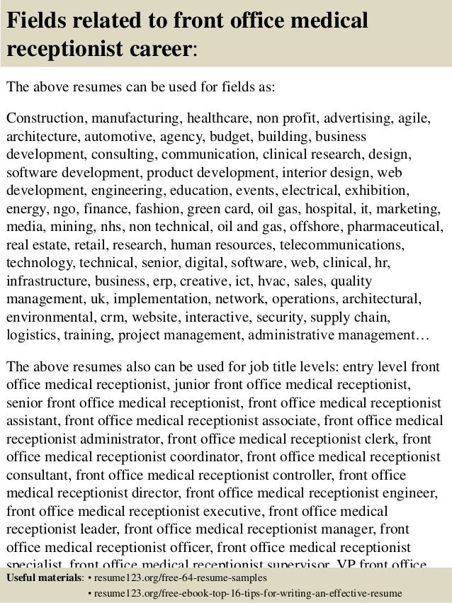medical receptionist resume 16 fields related to front office
