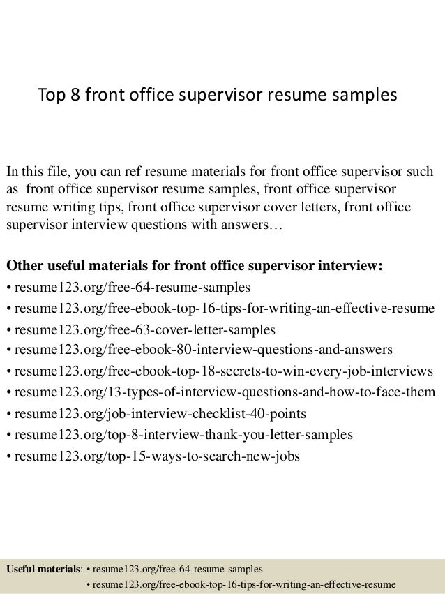 front desk supervisor resumes