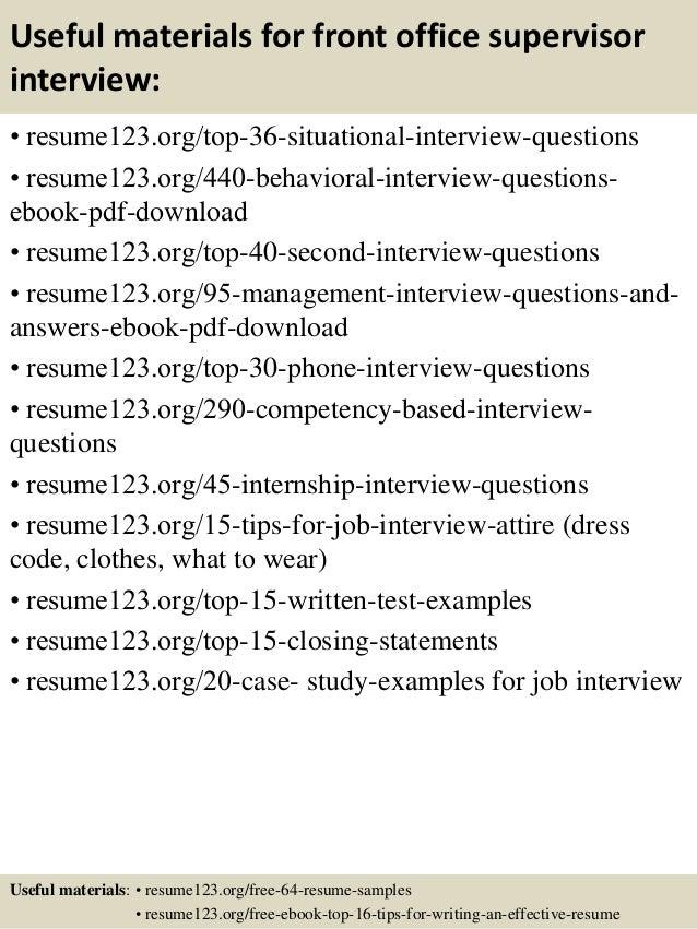 Top 8 Front Office Supervisor Resume Samples