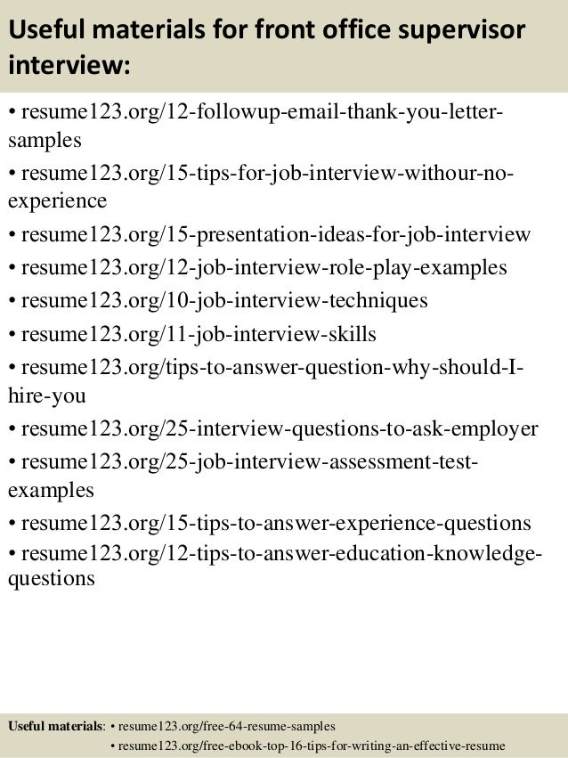 ... 14. Useful Materials For Front Office Supervisor ...  Front Desk Supervisor Resume